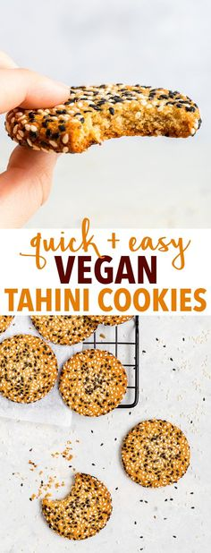 Quick + Easy Vegan Tahini Cookies (Gluten Free, Dairy Free, Vegan, Paleo) - If you have 30 minutes to spare, make these delicious vegan tahini cookies. They're healthy and easy to make – but more importantly, with their crispy caramelised edges, sweet chewy centre and an amazing tahini flavour… they're absolutely to die for. Easy cookie recipe. Quick cookies. Tahini recipes. Quick dessert recipes. Healthy dessert recipes. Healthy cookies. Vegan cookies. Vegan dessert recipes. #cookies #tahini Cookies Gluten Free, Quick Cookies, Healthy Cookies, Cookies Vegan, Quick Dessert Recipes, Easy Cookie Recipes, Vegan Recipes Easy, Recipes With Tahini, Vegetarian Recipes