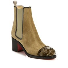 Christian Louboutin Otaboot Spiked Suede Chelsea Booties ($1,355) ❤ liked on Polyvore featuring shoes, boots, ankle booties, apparel & accessories, camel, spiked booties, block heel booties, chelsea boots, round toe boots and beatle boots