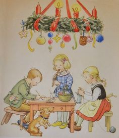 """hyperb0rean:  """"      """"[…] Now it's time to make nice Christmas gifts for the parents and the siblings, too. Fritz is painting, Grete is knitting, Heidi keeps rehearsing on her flute, so she can play a sweet tune at Christmas eve.""""  – Der Kinder..."""