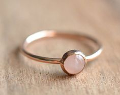 14K Rose Gold Filled Rose Quartz Ring // Rose Gold Rose Quartz Ring // Rose Gold Ring // Rose Quartz Stacking Ring // Gift for Her