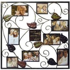 New View Our Family Metal Stamped Leaf Collage Frame