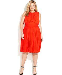 Calvin Klein Plus Size Sleeveless Pleated Dress