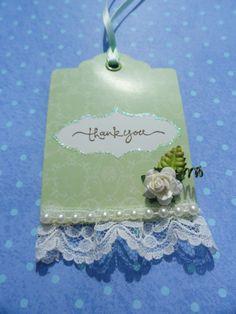 Shabby Chic Tag,  Thank You tag, Gift Tag, Decorative tag, Floral Tag, Green Tag
