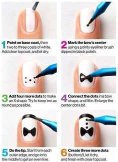 DIY Nails: bow tie nails, black and white nail polish Cute Nail Art, Nail Art Diy, Diy Nails, Bow Nail Art, Gorgeous Nails, Love Nails, Pretty Nails, Fancy Nails, Bow Tie Nails