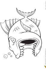 Coloriage d'un poisson carnivore, un piranha très méchant prêt à mordre Fish Cartoon Drawing, Cartoon Fish, Cartoon Drawings, Animal Drawings, Art Drawings, Colouring Pages, Coloring Sheets, Art Room Rules, Monster Rocks