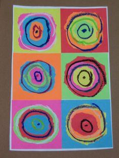 PROGETTO DI ARTE PER BAMBINI : KANDINSKY C'era Kandinsky nascosto nel mio blocco di carta colorata per appunti! Da qui…. a ….. qui…. strappando ed incollando! Ecco finalment…