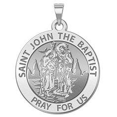 FB Jewels 14K Yellow Gold 12mm Round St John the Baptist Medal