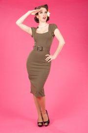 Miss Candyfloss Bennie Dee dress olive green   Jurken   Miss Vintage   Retro, vintage geïnspireerde dames kleding