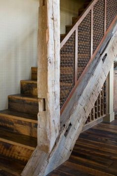 [orginial_title] – Shane Cunningham Breathtaking refresh of a rustic ranch house in the Montana mountains Rustic meets contemporary in Montana: Channels Ranch Rustic Staircase, Staircase Design, Staircase Ideas, Building Stairs, Stair Railing, Railings, Banisters, Stair Lift, House Stairs