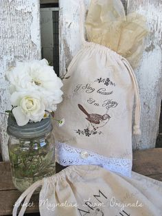 "Ditty ~ Bag ....... Muslin -n- Lace ........ ""I Sing Because I'm Happy""  by Sweetmagnoliasfarm  ... 4.75 Etsy"