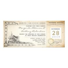 """boarding pass nautical vintage wedding invitations boarding pass - cruise nautical old wedding invitation tickets with boat or ship drawing. I suggest the """"Linen"""" or """"Felt"""" paper for this design. If you need more additional products (like rsvp, reception, wedding stickers etc), please contact me."""