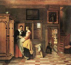 At the Linen Closet (Pieter de Hooch - )