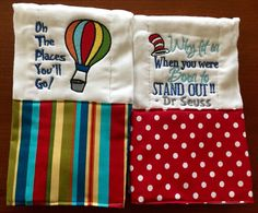 A personal favorite from my Etsy shop https://www.etsy.com/listing/262234910/dr-seuss-burp-cloths-burp-cloths-baby