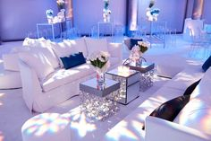 Snowboard themed Bar Mitzvah at Skirball Cultural Center | photographed by Jay Goldman | decor by Revelry Event Designers | floral design by Mark's Garden / Diamond, metal, mirror, egg chairs