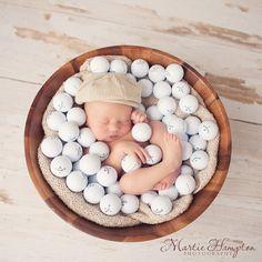 newborn baby infant boy golf portraits pictures pic images ideas Martie Hampton Photography http://www.martiehamptonphotography.com Hello Henry - Martie's Photography Blog