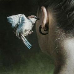 "'The Secret' painting by Truls Espedal "" A little bird whispered in my ear. Animal Spirit Guides, Spirit Animal, Somerset, Marc Chagall, How To Stay Awake, Animal Totems, Bird Art, Magick, Wiccan"