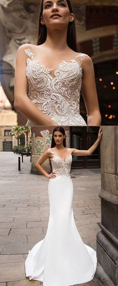 Charming Tulle & Satin Bateau Neckline See-through Mermaid Wedding Dresses With Lace Appliques