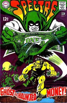 The Spectre Haunted Money, Hourman comic book, Haunted, Neal Adams, Murphy Anderson. Silver Age DC Comics from 1968 in FN Dc Comic Books, Comic Book Covers, Comic Book Characters, Comic Art, Dc Comics, Comics For Sale, The Spectre, Justice Society Of America, Silver Age Comics