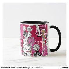 Wonder Woman Pink Pattern Mug #superhero #DC #comics #wonder #woman #official #licensed #merchandised #home #kitchen #personal #drink #mug #cup #coffee #tea