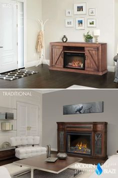 Electric fireplaces with mantels are extremely easy to set up! No remodeling required. Simply put the mantel together, insert the fireplaces, and plug it into a standard outlet. Electric Fireplace With Mantel, Electric Fireplaces, Bioethanol Fireplace, Fireplace Mantels, Fireplace Inserts, Remodeling, Wood, Easy, Modern