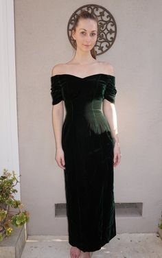Vintage Long Velvet Gown with Off the Shoulder by 2ndPerception