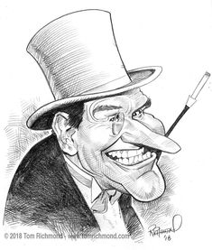 "o'the Week- Burgess Meredith! Another of my favorites from the Batman show, Burgess Meredith as ""The Penguin""!Another of my favorites from the Batman show, Burgess Meredith as ""The Penguin""! Funny Caricatures, Celebrity Caricatures, Cartoon Faces, Cartoon Art, Ink Illustrations, Illustration Art, Batman Show, Drawing Sketches, Drawings"