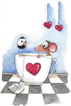 Original watercolor painting whimsical mouse bird crow tea cup hearts - New Ideas Watercolor Cards, Watercolor Paintings, Maus Illustration, Happy Paintings, Whimsical Art, Doodle Art, Cute Art, Painted Rocks, Painting & Drawing