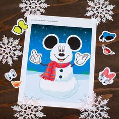 Let your kids' imagination run wild with this mix-and-match snowman sticker printable featuring Mickey and his friends.