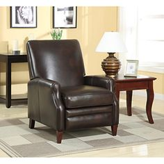 @Overstock - Add one of these classy leather recliners to your home for comfortable seating. Each recliner is made with durable hardwood and is upholstered with espresso top grain leather. It has small rolled arms and double stitching for great looks.http://www.overstock.com/Home-Garden/New-Creations-Espresso-Cleburne-Leather-Recliner/6352717/product.html?CID=214117 $711.99