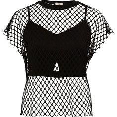 River Island Black mesh bralette T-shirt (75 BRL) ❤ liked on Polyvore featuring tops, shirts, black, blusas, sale, women, tee-shirt, crewneck shirts, mesh t shirt and tall t shirts