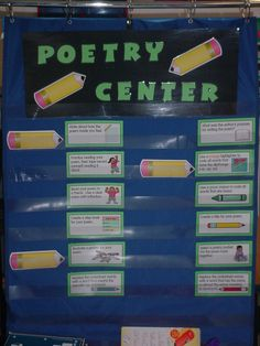 A poetry center can be used for stations. The pencils indicate the activities/questions students should complete to help them process poems they have read.