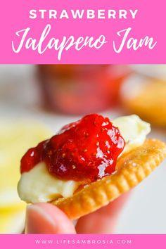 Strawberry Jalapeño Jam Recipe | No Pectin or Canning | Life's Ambrosia Jam Recipes, Baking Recipes, Jelly Recipes, Recipes Dinner, Sauce Recipes, Cooker Recipes, Delicious Recipes, Bread Recipes, Vegan Recipes