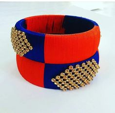 Blue and Orange Silk Thread Bangle pair