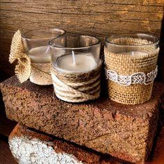 Set of 6 Burlap Lace Jute Twine Pearl Tea Candles