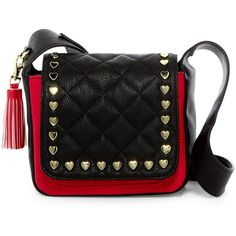 Betsey Johnson Heart Stud Faux Leather Crossbody (£25) ❤ liked on Polyvore featuring bags, handbags, shoulder bags, blk red, betsey johnson purse, red purse, betsey johnson crossbody, red handbags and red crossbody