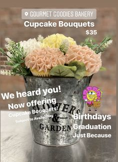 Garden Birthday, Custom Cupcakes, Cupcake Toppers, Bakery, Goodies, Birthdays, Bouquet, Personalised Cupcakes, Sweet Like Candy