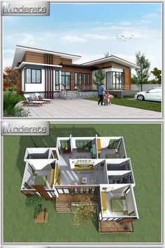 Loved the front porch or terrace of this house. Sims House Plans, House Layout Plans, New House Plans, Dream House Plans, Small House Plans, House Layouts, One Storey House, House Construction Plan, Casas The Sims 4