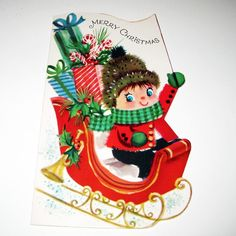 Vintage Christmas Greeting Card with Cute by grandmothersattic