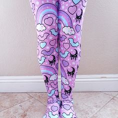 ☆ rainbow spooky bats pink tights ☆ made to order ☆ pastel goth ✧ creepy cute