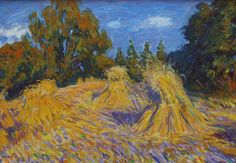 Johannes 'Johan' Dijkstra (Groningen Corn sheaves at the edge of the wood - De Ploeg Expressionist Artists, Dutch Painters, Dutch Artists, Vincent Van Gogh, Pastels, Netherlands, Abstract Landscape, Holland, Painting