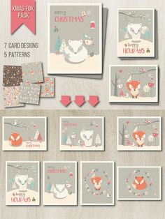 Xmas Fox Pack ► Cards + Patterns by Blue Lela Illustrations on @creativemarket