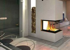 Panorama-Kamin Diy Fireplace, Fireplaces, Log Burner, House Extensions, Laminate Flooring, Home Living Room, Home Renovation, Sweet Home, New Homes