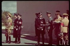 Vurbarra maneuvers during Hitler's state visit. (R) to (L) Frank (reading), unidentified, Himmler, (prob.) Ribbentrop, Hess 1938