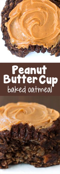 Peanut buttery chocolate baked oatmeal, for a healthy breakfast that tastes like dessert!