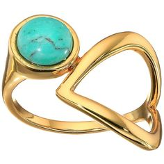 Rebecca Minkoff Boho Bead Twist Ring (Gold/Turquoise) Ring ($48) ❤ liked on Polyvore featuring jewelry, rings, beaded rings, green turquoise ring, yellow gold turquoise ring, yellow gold rings and twist ring
