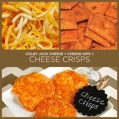Queijo Colby Jack + torradas de queijo = crisps de queijo