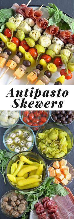 Antipasto Skewers - the perfect easy party appetizer! | http://honeyandbirch.com | #beattheheat #mezzetta