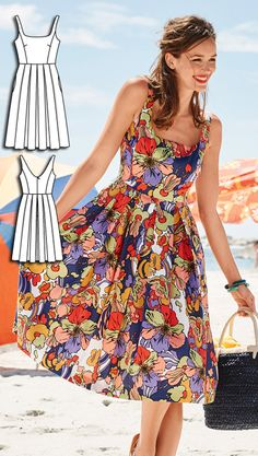 Dress Burda Jul 2016 #111A Pattern $5.99: http://www.burdastyle.com/pattern_store/patterns/feminine-dress-072016