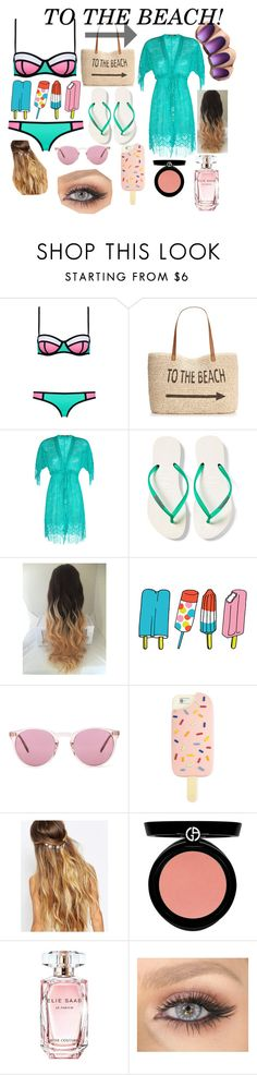 """TO THE BEACH!"" by hogwarts10144 ❤ liked on Polyvore featuring Style & Co., Despi, Havaianas, Tattly, Oliver Peoples, Tory Burch, Johnny Loves Rosie, Armani Beauty and Elie Saab"