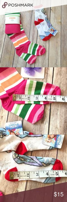 """Gymboree striped tights and Frozen crew socks Relaxed, socks measure 5.5"""" heel to toe Gymboree Accessories Socks & Tights"""